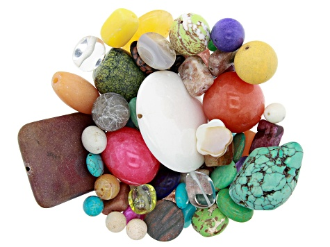 1 lb Loose Assorted Beads in Various Shapes and Colors