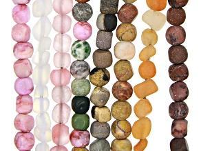 Multi-Stone Matte Pebble appx 5-7mm Bead Strand Set of 8 appx 15-16