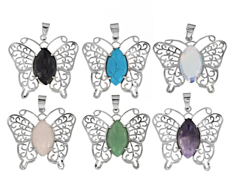 Butterfly Pendant Set of 6 In Assorted Stones Set in Silver Tone Base with Bail
