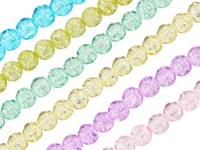Poppy Quench Crackled Crystal Round appx 8mm Bead Strand Set of 6 appx 15-16