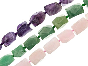 Multi-Gemstone Faceted Graduated Nuggets Bead Strand Set of 3 appx 15-16