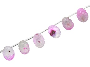 Watermelon Solar Quartz Appx 13x10mm - 17x12mm Graduated and Carved Oval Beads Appx 15-16