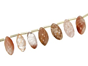 Golden Rutilated Quartz & Strawberry Quartz Mix Graduated Carved Oval Tube Bead Strand Appx 15-16