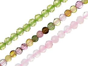 Rose Quartz, Multi-Tourmaline & Peridot Round appx 2-2.5mm Bead Strand Set of 3 appx 15-16