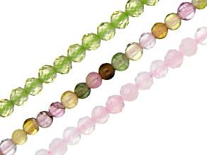 Rose Quartz, Multi-Tourmaline & Peridot Round appx 2-2.5mm Bead Strand Set of 3 appx 15-16