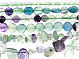 Multi-Fluorite Bead Strand Set of 6 in Assorted Shapes appx 15-16