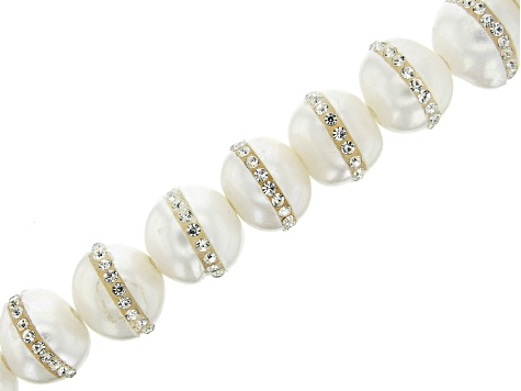 White Cultured Freshwater Pearl appx 12-14mm & Faceted Crystal Accents Large Hole Bead Strand