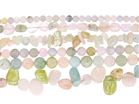Multi-Color Beryl Bead Strand Set of 6 in Assorted Shapes