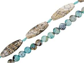 Blue Terra Agate Round & Barrel Shape Bead Strand Set of 2 appx 14-15