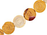 Mookaite appx 16mm Carved Rose Coin Shape Bead Strand appx 15-16