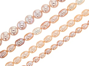 Cultured Freshwater Pearl Bead Strand Set of 4 in Assorted Colors appx 15-16