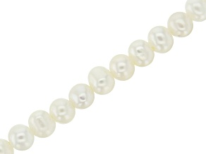 White Cultured Freshwater Pearl Potato appx 6mm Shape Large Hole Bead Strand appx 8