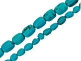 Turquoise Simulant Bead Strand Set of 5 in Assorted Shapes appx 15-16