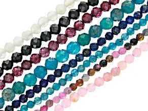 Multi-Stone Bead Strand Set of 8 Faceted Round appx 2mm & 3mm appx 15-16