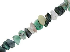Brazilian Emerald in Matrix Appx 9x11mm Nugget Bead Strand Appx 32