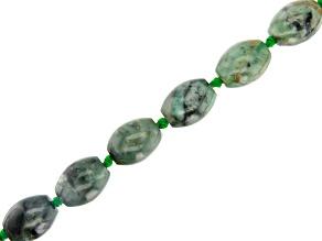 Brazilian Emerald in Black Matrix Appx 17x13mm Oval Bead Strand Appx 17