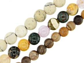 Multi-Stone Large Hole Round appx 8mm & 10mm Bead Strand Set of 3 appx 8