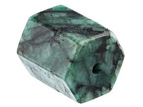 Brazilian Emerald Appx 18x16mm Hexagonal Drilled Focal Bead