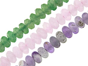 Multi-Stone Large Hole Rondelle appx 8mm Bead Strand Set of 3 appx 8