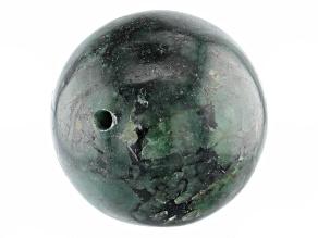 Brazilian Emerald in Matrix Appx 25mm Round Drilled Focal Bead