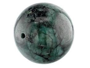 Brazilian Emerald in Matrix Appx 22mm Round Drilled Focal Bead