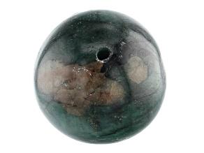 Brazilian Emerald in Matrix Appx 16mm Round Drilled Focal Bead