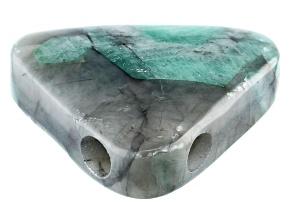 Brazilian Emerald in Matrix Free-Form Triangle Focal Bead Appx 28mm