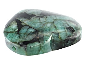 Brazilian Emerald Appx 35mm Heart Shape Drilled Focal Bead