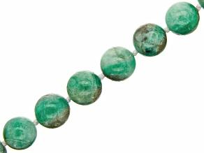 Brazilian Sugar Cane Emerald appx 12mm Round Bead Strand appx 17-18