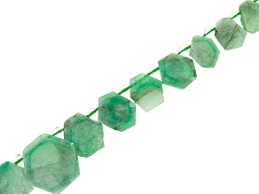 Brazilian Sugar Cane Emerald appx 7-18mm Graduated Hexagonal Bead Strand appx 15-16