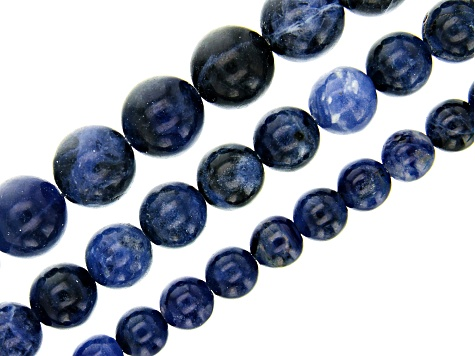 Sodalite Round appx 6, 8 & 10mm Bead Strand Set of 3