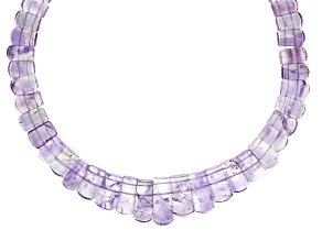 Amethyst and Ametrine Appx 12x9mm-22x11mm Graduated Collar Bead Strand Appx 17-18
