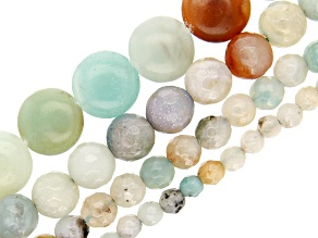 Multi-Color Quartzite Bead Strand Set of 4 in Round & Coin Shapes in Assorted Sizes appx 15-16