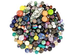Multi-Gemstone 1lb Loose Bead Parcel in Assorted Shapes and Sizes