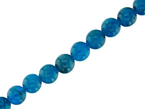 Blue Apatite appx 6mm Round Bead Strand appx 15-16
