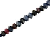 Ruby & Sapphire Mix Faceted Rondelle appx 4mm Bead Strand appx 15-16