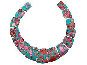 Pink & Blue Mardi Gras Stone Graduated appx 15x23-25x35mm Collar appx 12