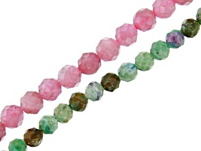 Fuchsite with Ruby & Pink Tourmaline Faceted Round appx 2.5-3mm Bead Strand Set of 2 appx 15-16
