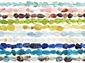 Multi-Gemstone Nugget appx 8x5mm Bead Strand Set of 10