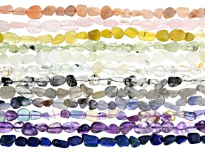 Multi-Gemstone Nugget appx 8x5mm Bead Strand Set of 12 appx 15-16