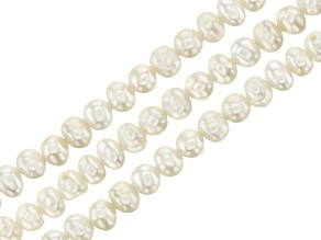 White Cultured Freshwater Pearl Roundish appx 3-5mm Bead Strand Set of 3 appx 14-15