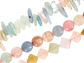 Multi-Beryl & Rose Quartz Mixed Bead Strand Set of 3 in Assorted Shapes appx 15-16