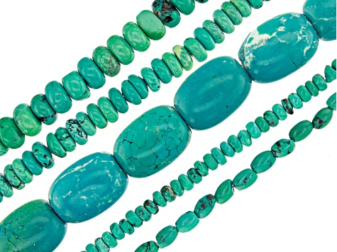 Turquoise Color Magnesite Bead Strand Set of 5 in Assorted Shapes and Sizes Appx 15-16