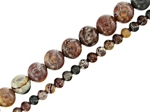 Rhyolite appx 4mm and 8mm Round Bead Strand Set of 2 appx 15-16