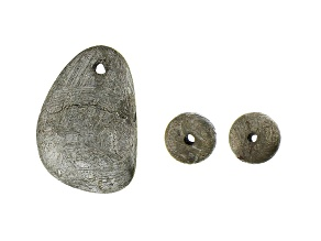 Muonionalusta Meteorite Nugget Pendant appx 11x13-14x14mm and set of 2 appx 6mm Round Beads
