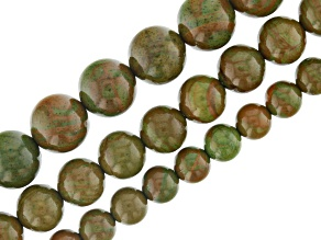 Green Wood Marble Set of 3 Bead Strands appx 6, 8, & 10mm appx 15-16
