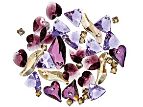 Swarovski ® Sugar Plum Crystal Mix in Assorted Shapes and Colors Appx 48 Pieces Total