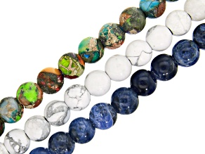 Set of 3 Large Hole Round appx 8mm Mardi Gras Stone, Sodalite, Matte Magnesite Bead Strands