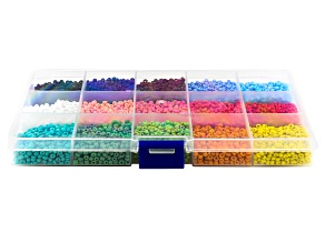 Seed Bead Kit in 15 Assorted Colors appx 7000 Pieces Total with Storage Case