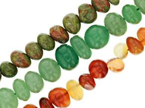 Tumbled Nugget Strands Set of 3 in Green Aventurine, Unakite, and Carnelian appx 15-16